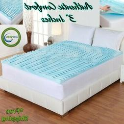 "3"" Orthopedic Cooling Foam Mattress Topper Queen King Twin F"