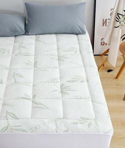 Bamboo Mattress Pad-Overfilled Extra Plush Topper Hypoallerg