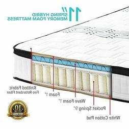 "King Mattress High Density Hybrid Memory Foam 11"" Inch Swiss"