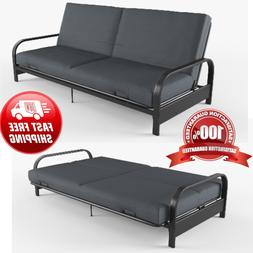 """Full Size Futon Sleeper Bed Frame Sofa 6"""" Mattress Couch Con"""