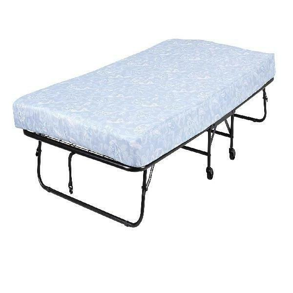Folding Rollaway Twin Guest Bed Frame with 5-Inch Memory Foa