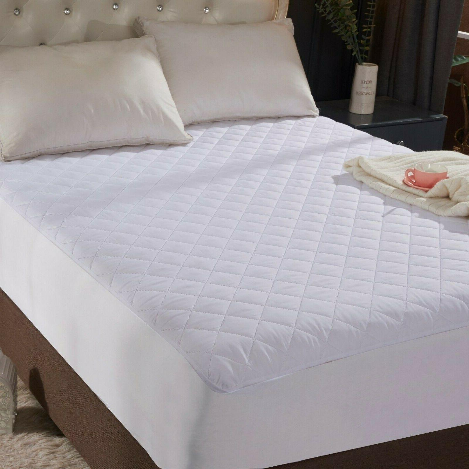 """King Size Quilted Mattress Protector Pad Topper Cover 16"""" De"""