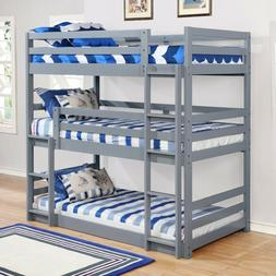 Modern 3 Tier Triple Twin Convertible Wood Bunk Bed with Mat