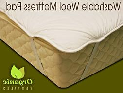 Natural Wool Mattress Pad w/ Organic Cotton Cover - ALL SIZE