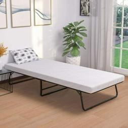 Portable Cot Size Folding Metal Bed with Foam Mattress Bedro