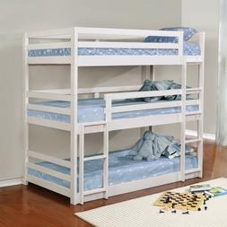 Space Saver Triple Twin Wood Bunk Bed with Foam Bunkie Mattr