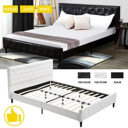 Twin Full Queen Size Bed Frame Mattress Platform Leather Uph